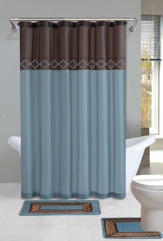 Brown Blue Modern Shower Curtain 15 Pcs Bath Rug Mat Contour Hooks Bathroom Set #PowerSellerUSA #Traditional
