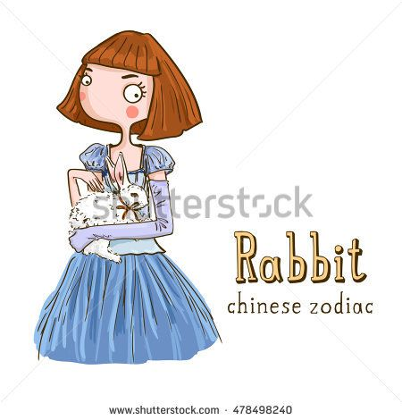 Cute girl holding rabbit - symbols of chinese horoscope.