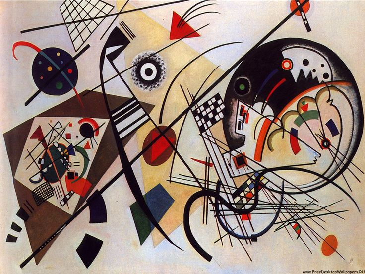 "Again, beautiful composition. Very much like music. Kandinsky could ""hear"" colors, and ""see"" sounds."
