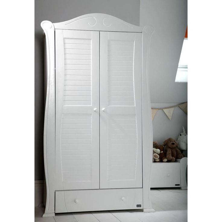 Wooden Wardrobe Cabinet White Colour Drawer Rail Shelf Storage Bedroom Furniture