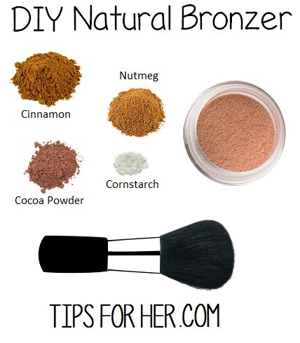 DIY Bronzer for soft, glowing skin. All natural, super easy to make and non toxic! What You'll Need: 1 tbsp. ground cinnamon 1 tbsp. cornstarch 1 tbsp. cocoa powder 1 tsp nutmeg Mix cornstarc…