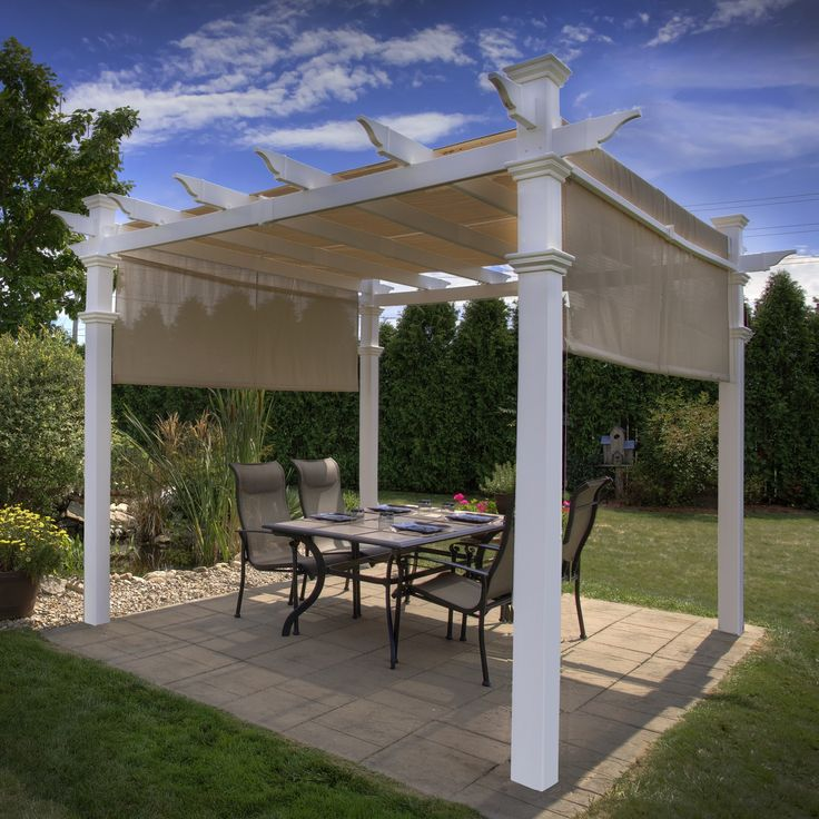 Have to have it. New England Arbors White Vinyl Malibu Pergola - $1799.99 @hayneedle.com