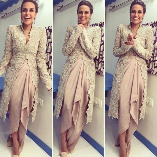 Neha Dhupia in an Anamika Khanna Outfit