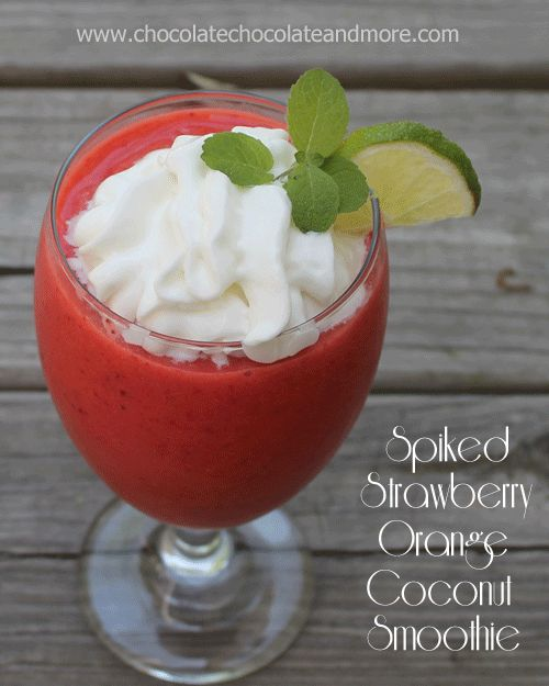 Spiked Strawberry Orange Coconut Smoothie - the perfect Summer dessert and cocktail!