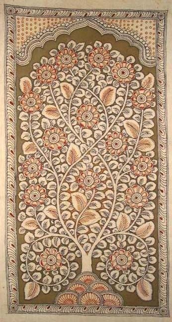Tree of Life panel 'Kalamkari' painting - hand painted with natural vegetable dyes, India.