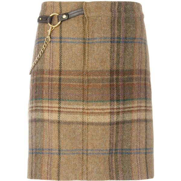 Ralph Lauren plaid chain belt detail skirt ($420) ❤ liked on Polyvore featuring skirts, brown, ralph lauren, ralph lauren skirts and brown skirt