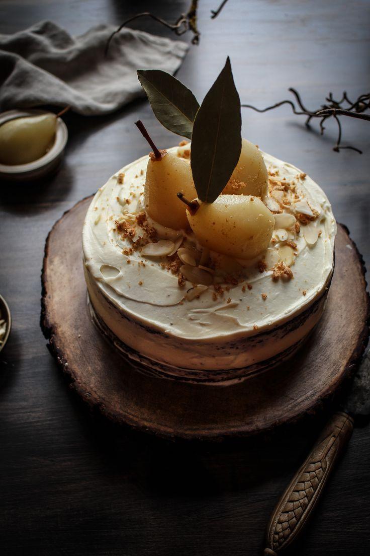 chocolate, almond cake with amaretto poached pears and amaretto mascarpone cream.