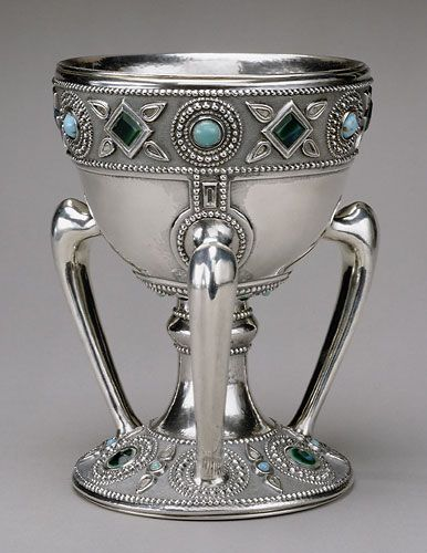 Three-handled cup (tyg), ca. 1905  Louis Comfort Tiffany (1848–1933), Tiffany Studios (1902–1938)  Silver, glass, 8 x 6 in. (20.3 x 15.2 cm)  Stamped: (on underside) TIFFANY STUDIOS/NEW YORK./ STERLING/925/1000/4787.  The Metropolitan Museum of Art, New York, Purchase, The Edgar J. Kaufmann Foundation Gift, 1969 (69.36) | JV
