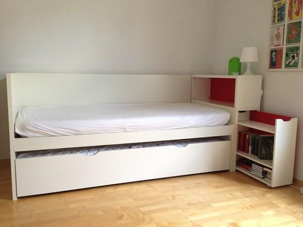 Ikea flaxa with headboard storage and trundle bed bed for kids pinterest - Tete de lit ikea malm ...