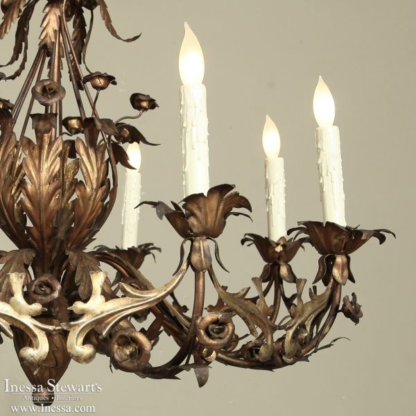 Antique Lighting | Antique Chandeliers | French Design Mid-Century Wrought Iron Painted Chandelier | www.inessa.com