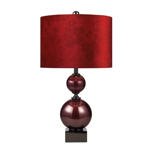 Dimond lighting table lamp with red shade in cherry glass and black nickel finish 111