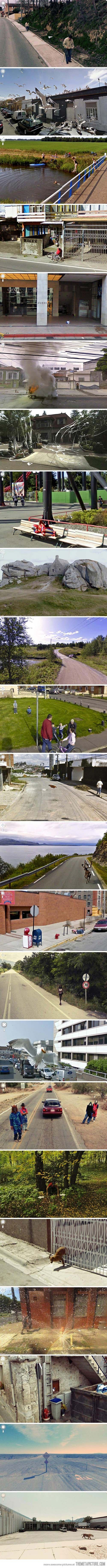 Meanwhile on Google Maps Street View... I can't believe these are real!