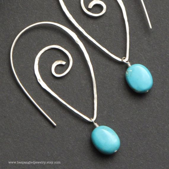 Bright Blue Turquoise Sterling Silver Spiral by bespangledjewelry