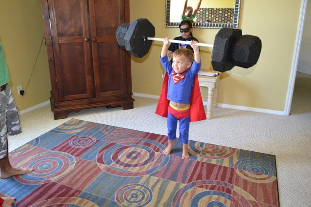 Super Hero Training Academy.  Activities to do at a superhero party.  The foam weights are my favourite!
