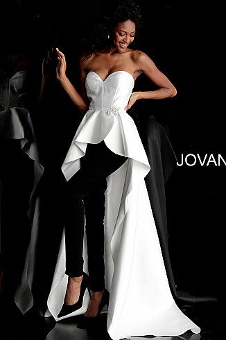 6ee6836666f Ivory Black Strapless Sweetheart Pantsuit with Overskirt 66852 in 2019
