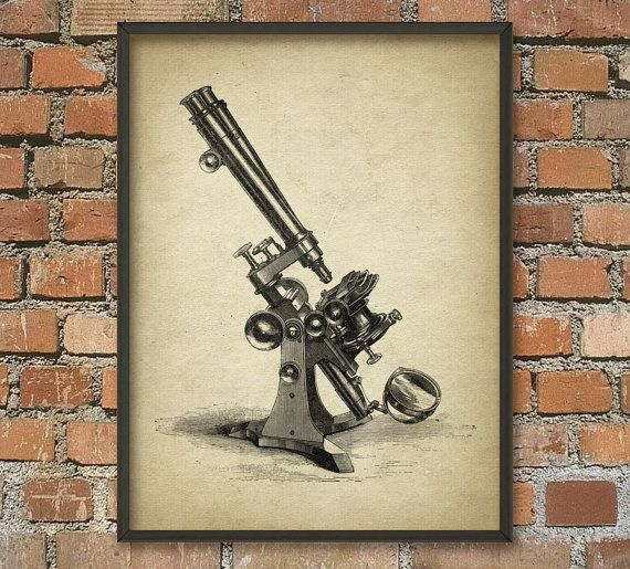 Antique Microscope  Biology Wall Art Poster  by QuantumPrints