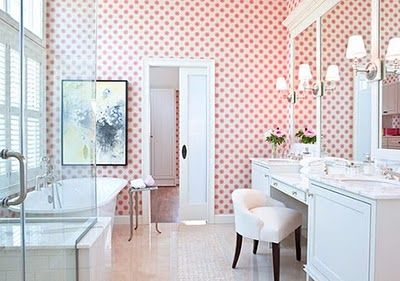 the red wallpaper I just pinned would go this direction, picking up on red and white curtains in master... with black dot tile.