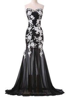 Trumpet/Mermaid Chiffon Sweep Train Appliques Lace Black Popular Formal Dresses - formaldressaustralia.com