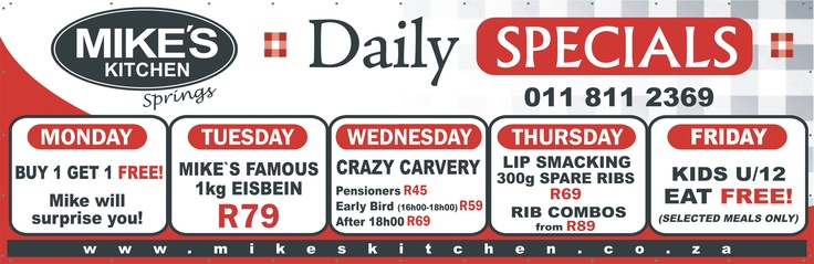 Mikes Kitchen Springs Daily Specials