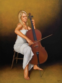 Original Oil Painting - With Music in her Soul  Artist: Cardozo, Horacio  Artwork title: With Music in Her Soul