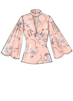 Laura Ashley for McCall's sewing pattern. M7659 Misses' Tops with Full Sleeves and Back Zipper
