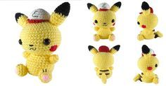 """Hey, it's Friday, so here's a free pattern. It's a 7"""" tall amigurumi of Pikachu with an Ash hat. The pattern is available on Ravelry  or y..."""
