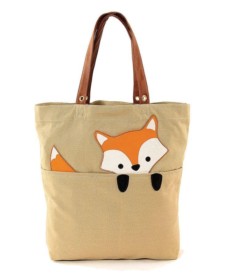 Sleepyville Critters Khaki Peeking Baby Fox Tote | zulily