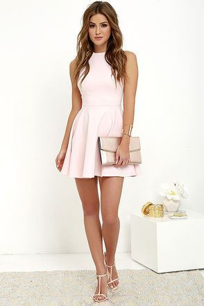 Fun-Loving Light Pink Skater Dress at Lulus.com!