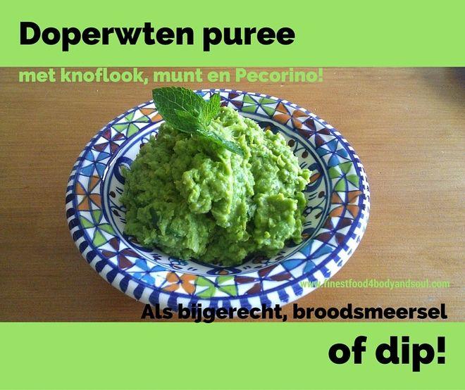 #Groenislekker Probeer eens dit #recept voor een #doperwtenpuree met het verrassend effect van #knoflook , #munt en #pecorino . Lekker met een gegrild wit visje, in de oven gebakken kip of ander gebakken vleesvervanger! Ga voor het recept naar: http://www.finestfood4bodyandsoul.com/doperwtenpuree-met-knoflook-munt-pecorinokaas.html