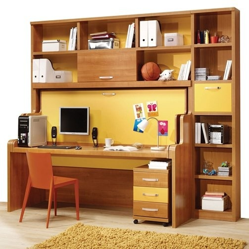 the desk turns into a bed and you don 39 t even have to take the stuff off the desk this is magic. Black Bedroom Furniture Sets. Home Design Ideas