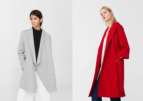 Vlněný kabát zahřeje i bez knoflíků. Na foto (zleva): šedý kabát, 1699 Kč, červený kabát, 3999 Kč, oboje Mango; Archiv firmy