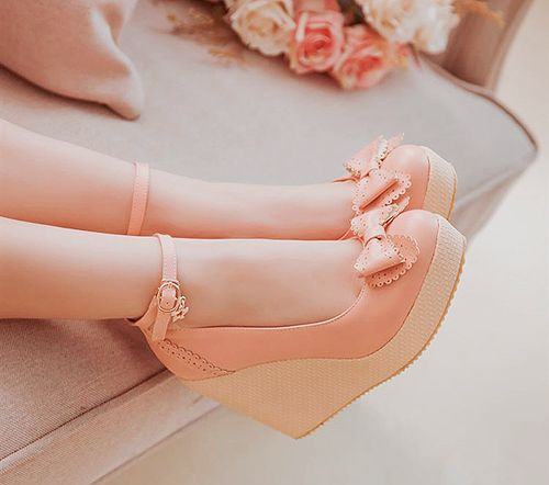 Kawaii pastel pink and cream now embellished shoes/platforms
