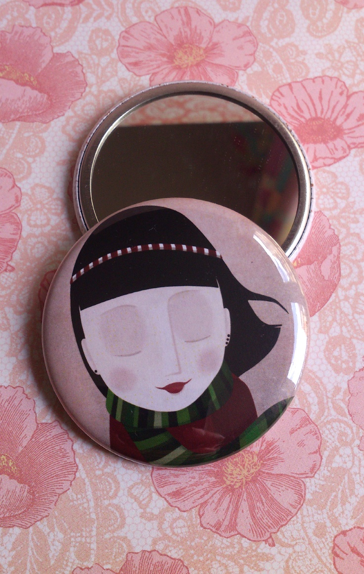 """Little girl"" illustrated pocket mirror  https://www.etsy.com/shop/germaine?section_id=7043393"