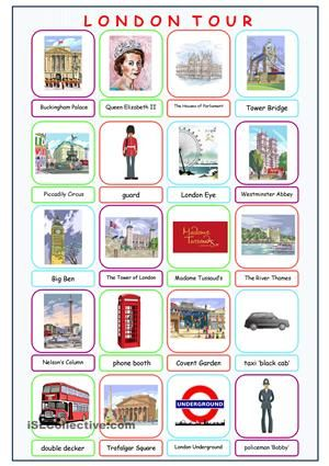 A picture dictionary on some famous London sights. - ESL worksheets