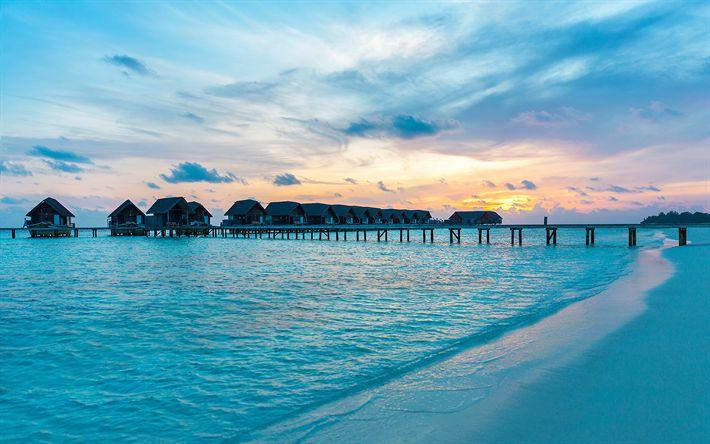 Download wallpapers Maldives, coast, Indian Ocean, summer, bungalow, beach, resort
