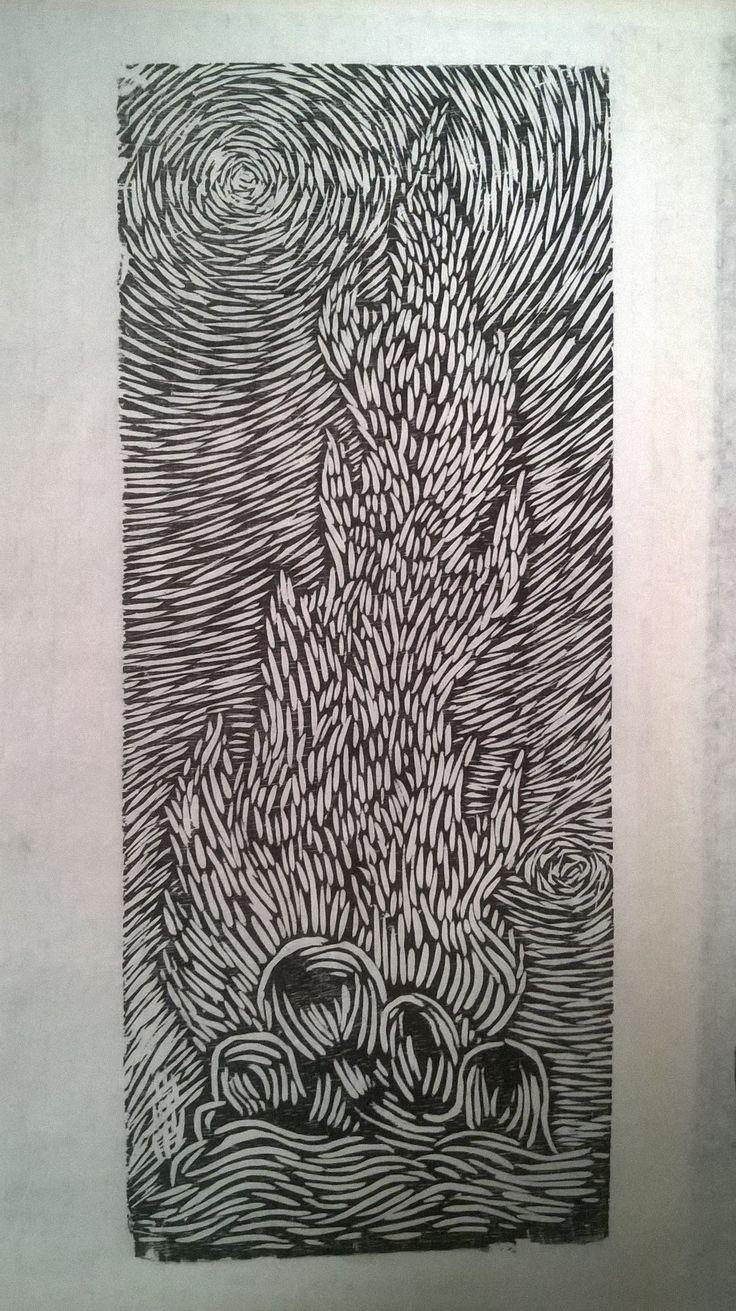¨Van Gogh cipres¨ Xilografia Grabado en madera