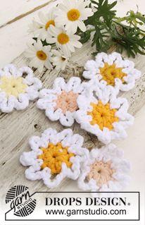 "Flores de margarita DROPS, en ganchillo, en ""Paris"". ~ DROPS Design"