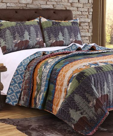 Love this Black Bear Lodge Reversible Quilt Set on #zulily! #zulilyfinds