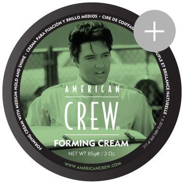 American Crew Forming Cream Medium hold with medium shine. Limited Elvis Edition Easy to use styling cream works well for all hair types. Forming Cream provides hold, excellent pliablity, and a natural shine. This product also helps hair look thicker.