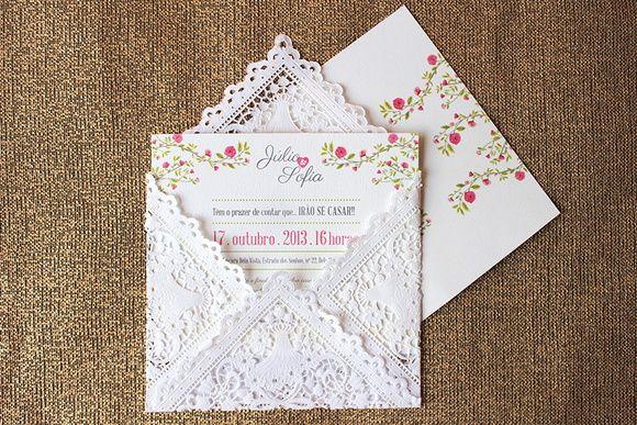 Envelope de Papel Rendado    -----------------------  Vendemos também a arte para convite e outros produtos de papelaria seguindo essa identidade visual. R$ 5,10