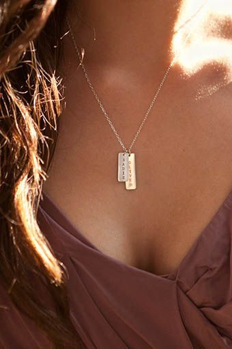 Modern and sleek, mixed metal necklace for moms, with your children's names on it. Great gift for Mothers Day!