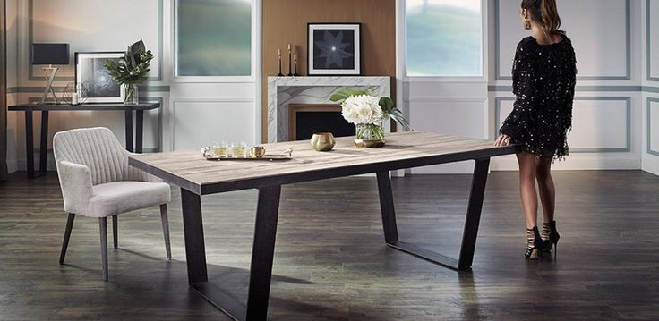 Made with a Metal frame and solid recycled Oak Wood top, the Watou dining table…