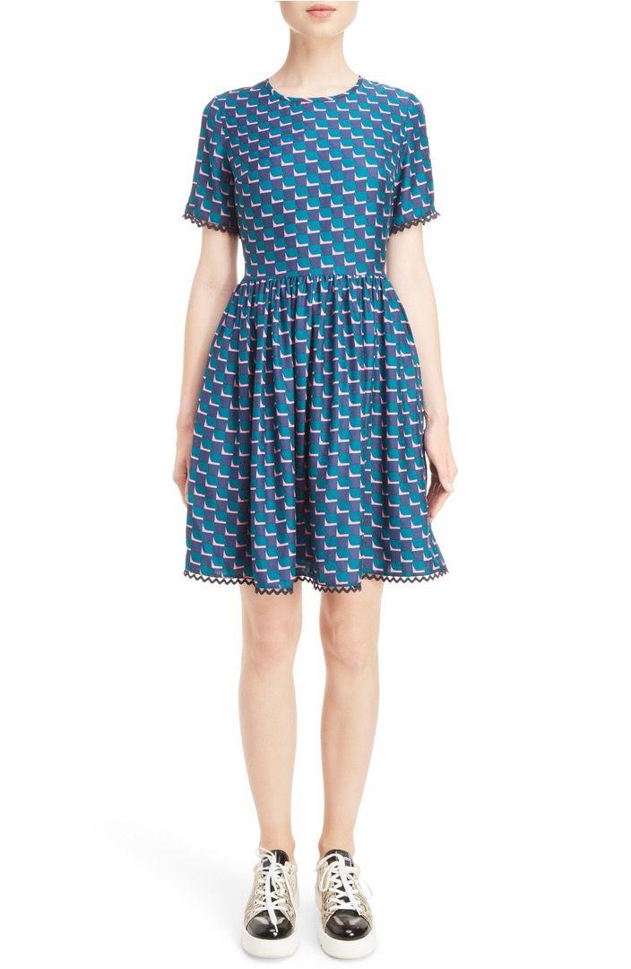 Geometric graphics & silk make this simple spring dress bold