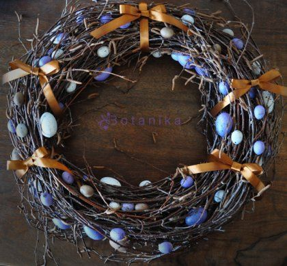 Wianek wielkanocny, autor: Botanika: Satin Ribbons, Easter Wreaths, Holiday Decorations, Photo, Easter Spring Decoration, Quail Eggs, Gray Quail