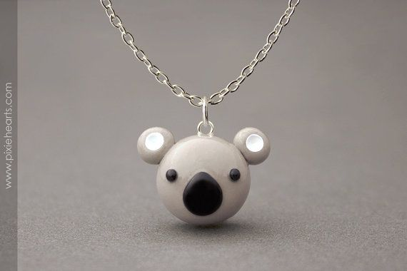 Koala Necklace Polymer Clay Pendant Necklace Cute by PixieHearts, $22.50