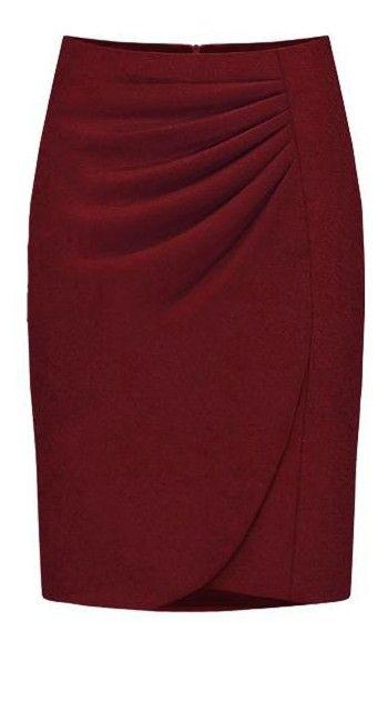 Purplish-red Fashion Professional Skirt.