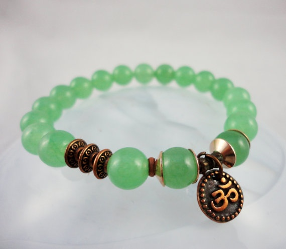 Serenity Green Jade with Om Yoga Mala Bracelet by LifeForceEnergy, $23.00
