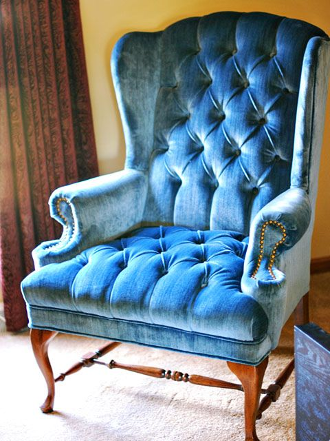 Tufted blue velvet.  Anything & everything.