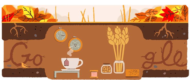 Google keeps its seasonal doodle theme for today's arrival of fall (2017).