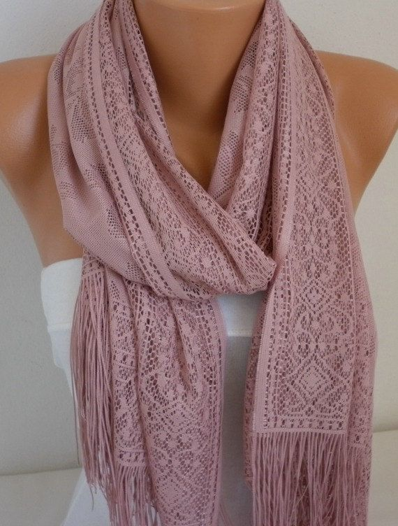 ON SALE  Dusty  Pink Tulle Shawl Scarf  Cowl  by fatwoman on Etsy, $16.30
